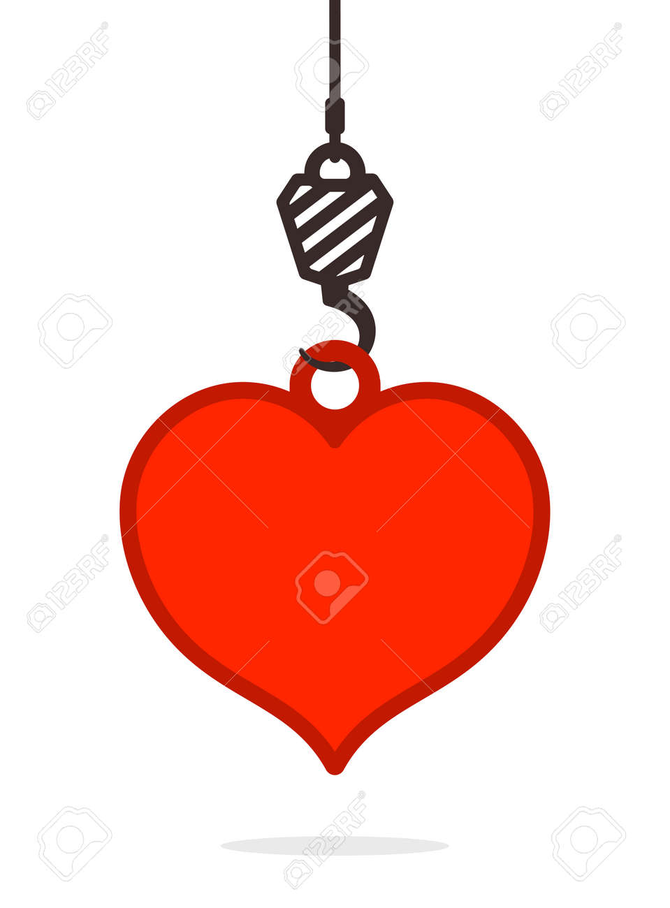 Heavy duty ornament hooks - Illustration Suspended Heavy Duty Hook On A Cable Lifting A Red Heart Conceptual Of Love And Romance Simple Vector Illustration Design Element