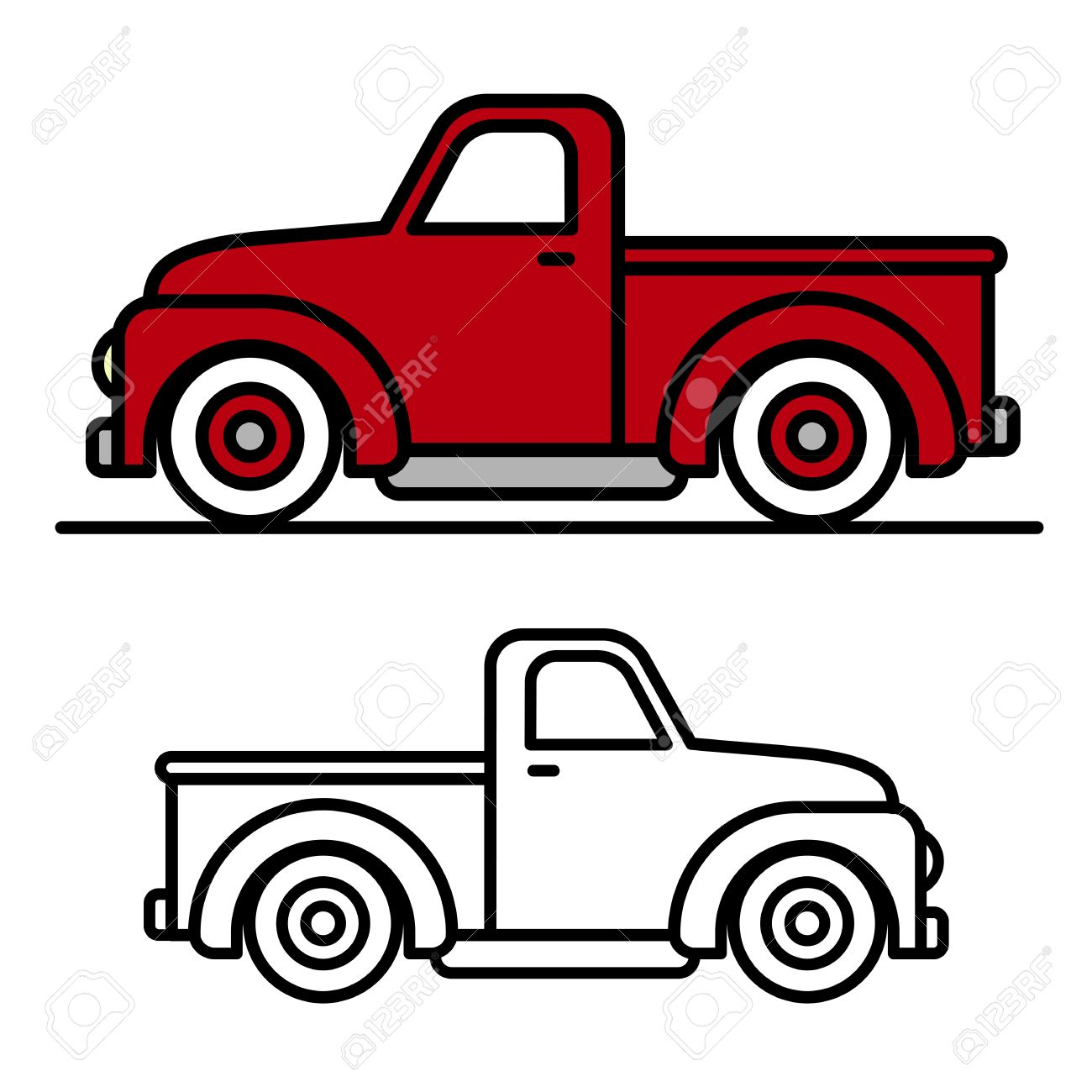 two cartoon vintage pick up truck outline drawings one red and