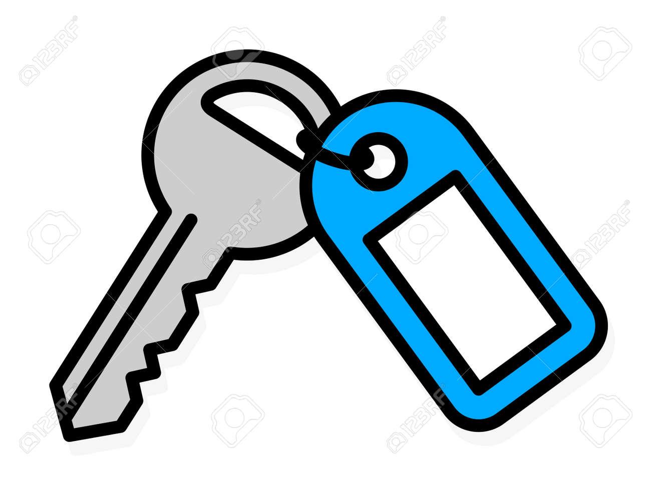 Banque dimages simple dessin de vecteur de contour coloré dune maison de métal clé de la porte avant dargent avec une étiquette en plastique bleu avec