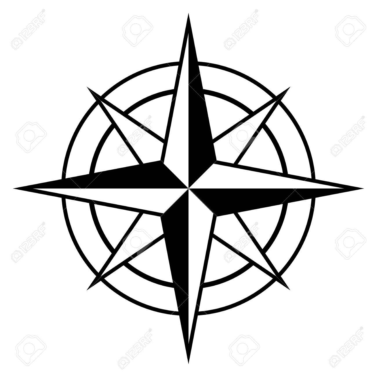 Antique Style Compass Rose Icon In Black And White For Marine Nautical Themes Vector