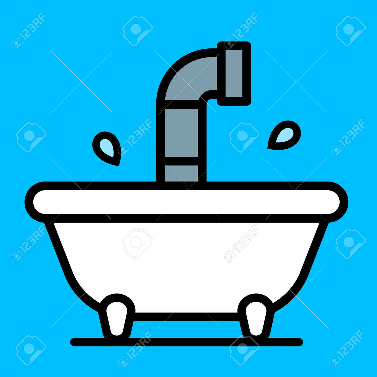 bathtub cartoon. Conceptual cartoon bathtub with a periscope rising above the water from  submersible craft over Cartoon Bathtub With A Periscope Rising Above The