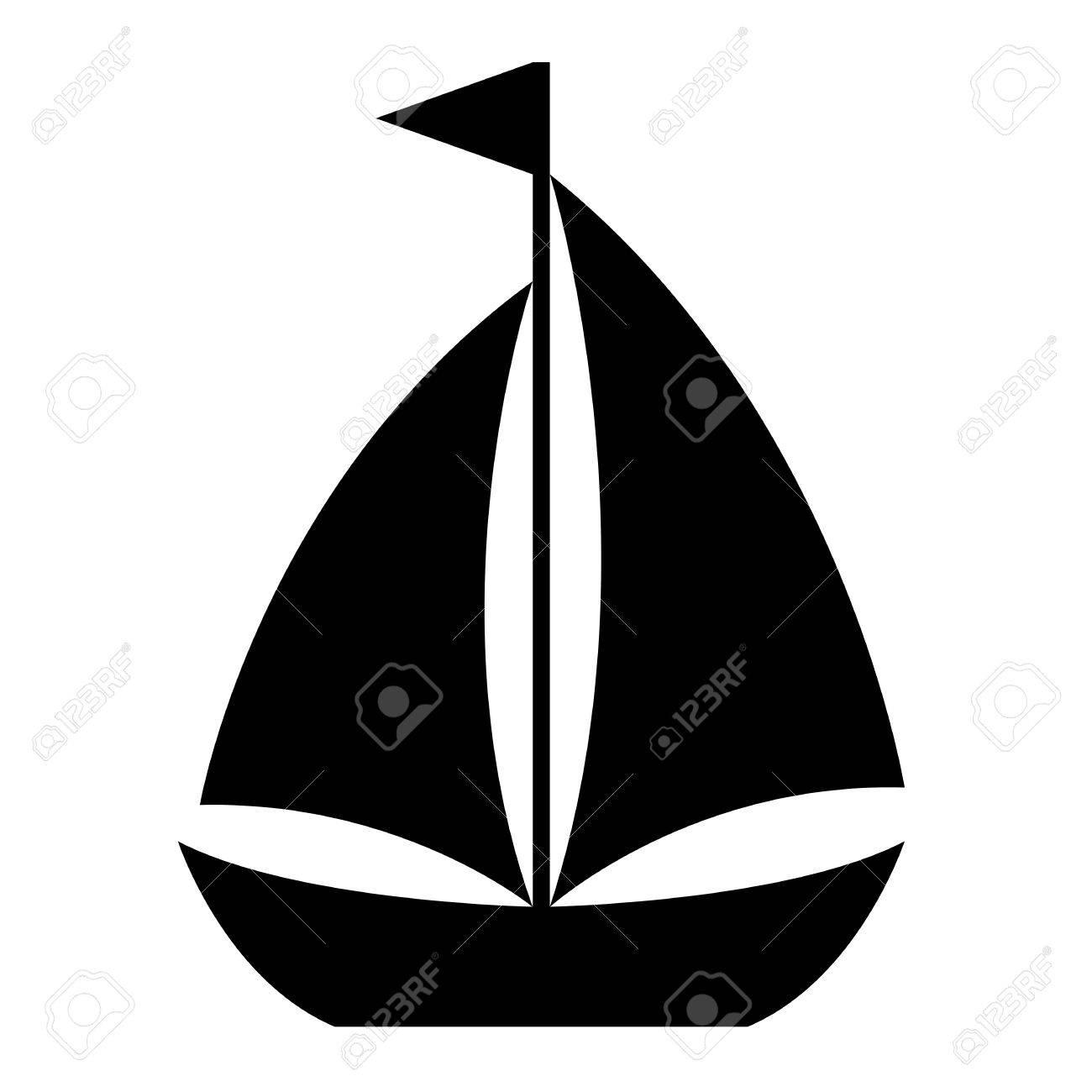 Simple Velero De Dibujos Animados Icono De Un Pequeño Velero Con Dos Velas De Bandera En El Mástil En La Vista Lateral Elemento De Diseño En Blanco