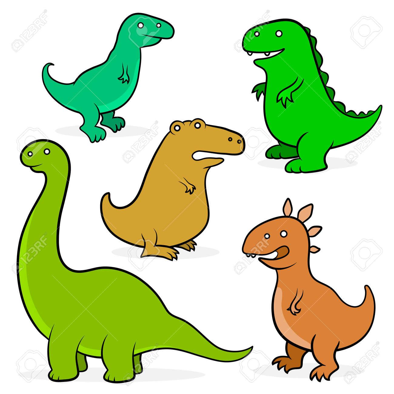 Conjunto De Cinco Dinosaurios Prehistóricos Lindo De Dibujos ...