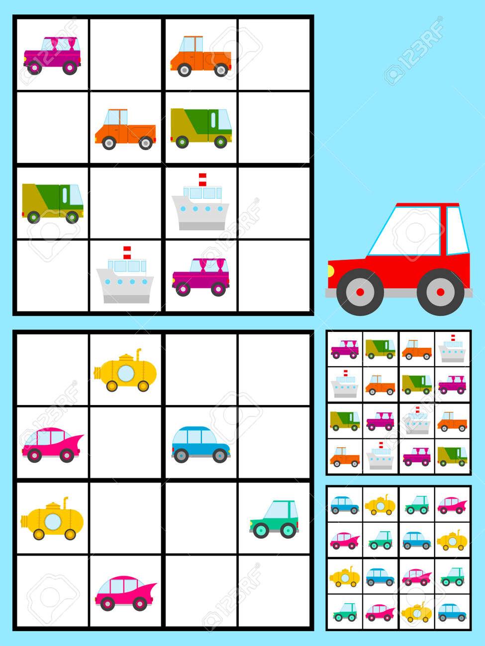 esquina infancia Recomendado  Juego Recreativo Para Los Niños Con Un Rompecabezas Sudoku Con Coches De  Colores Automóviles Para Rellenar La Cuadrícula En Dos Variaciones Con Las  Respuestas, Diseño Del Vector Ilustraciones Vectoriales, Clip Art  Vectorizado