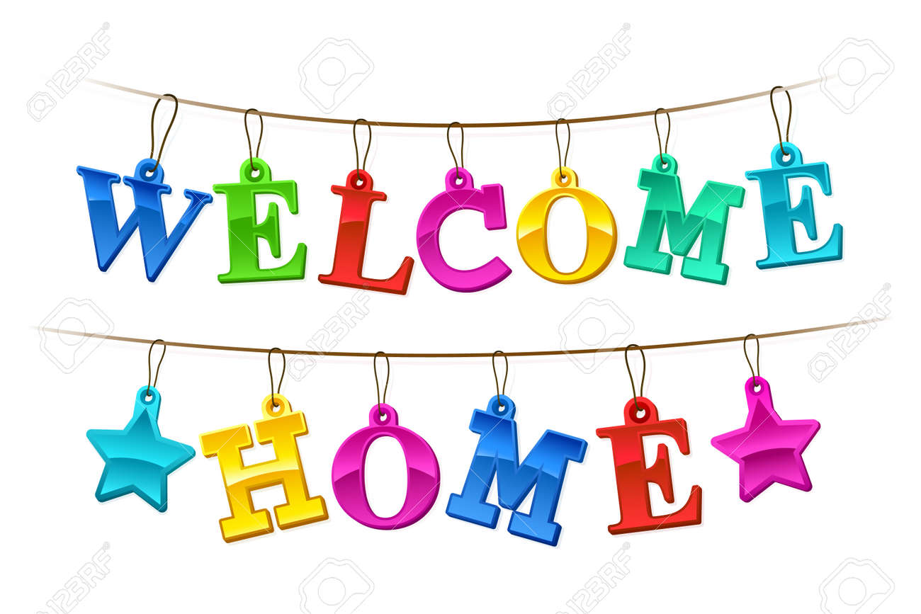 Colorful Welcome Home Banner With Letters Design As Hanging Tags ...