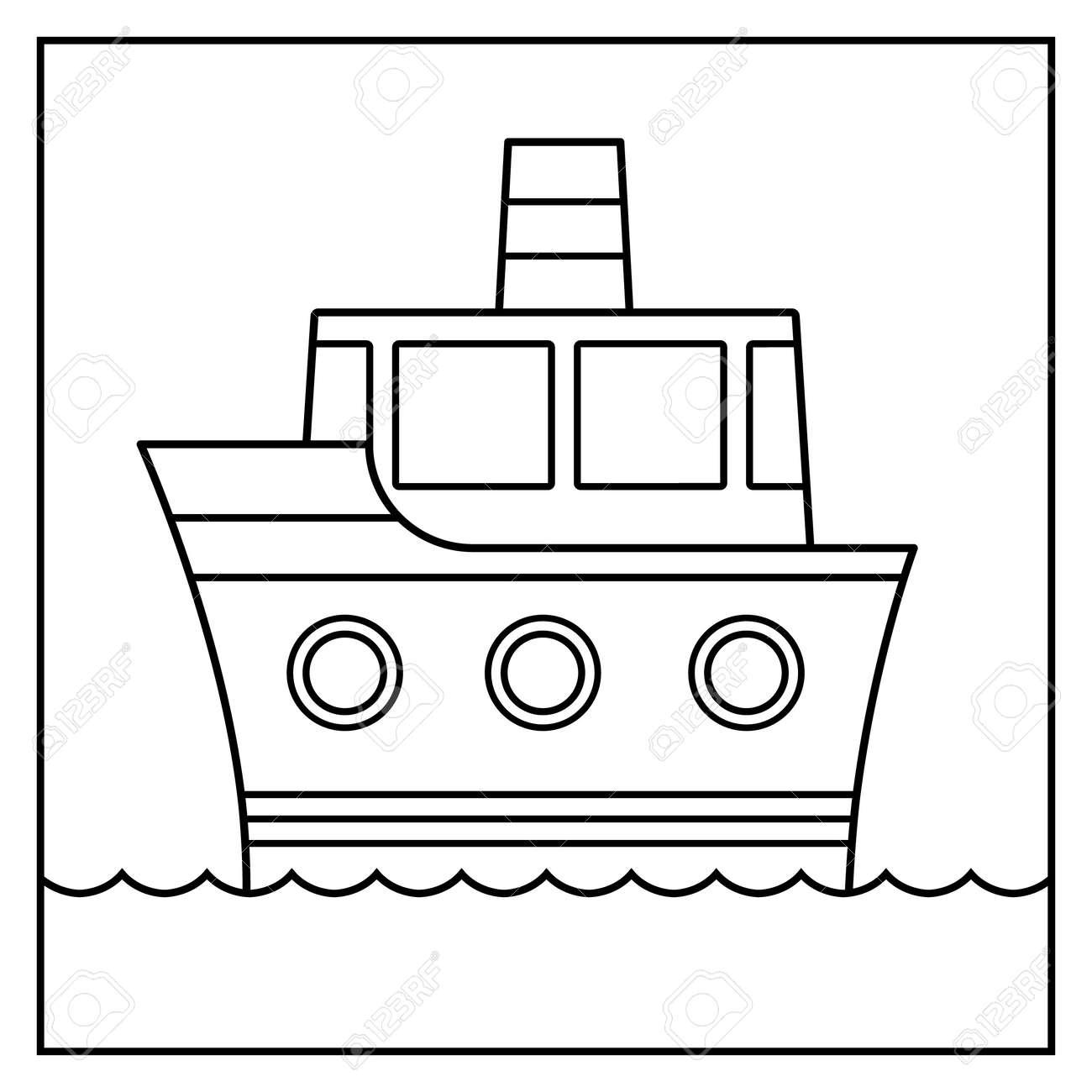Diseño De Los Buques De Dibujos Animados Contorno Crucero Sobre El ...