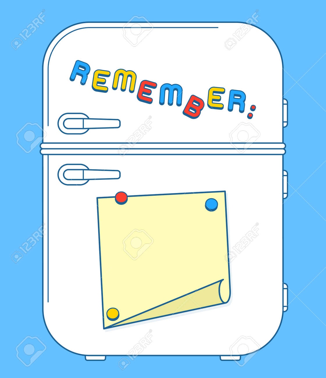 Fridge freezer door with magnets and reminder note with copy space. Vector illustration Stock Vector  sc 1 st  123RF.com & Fridge Freezer Door With Magnets And Reminder Note With Copy ...