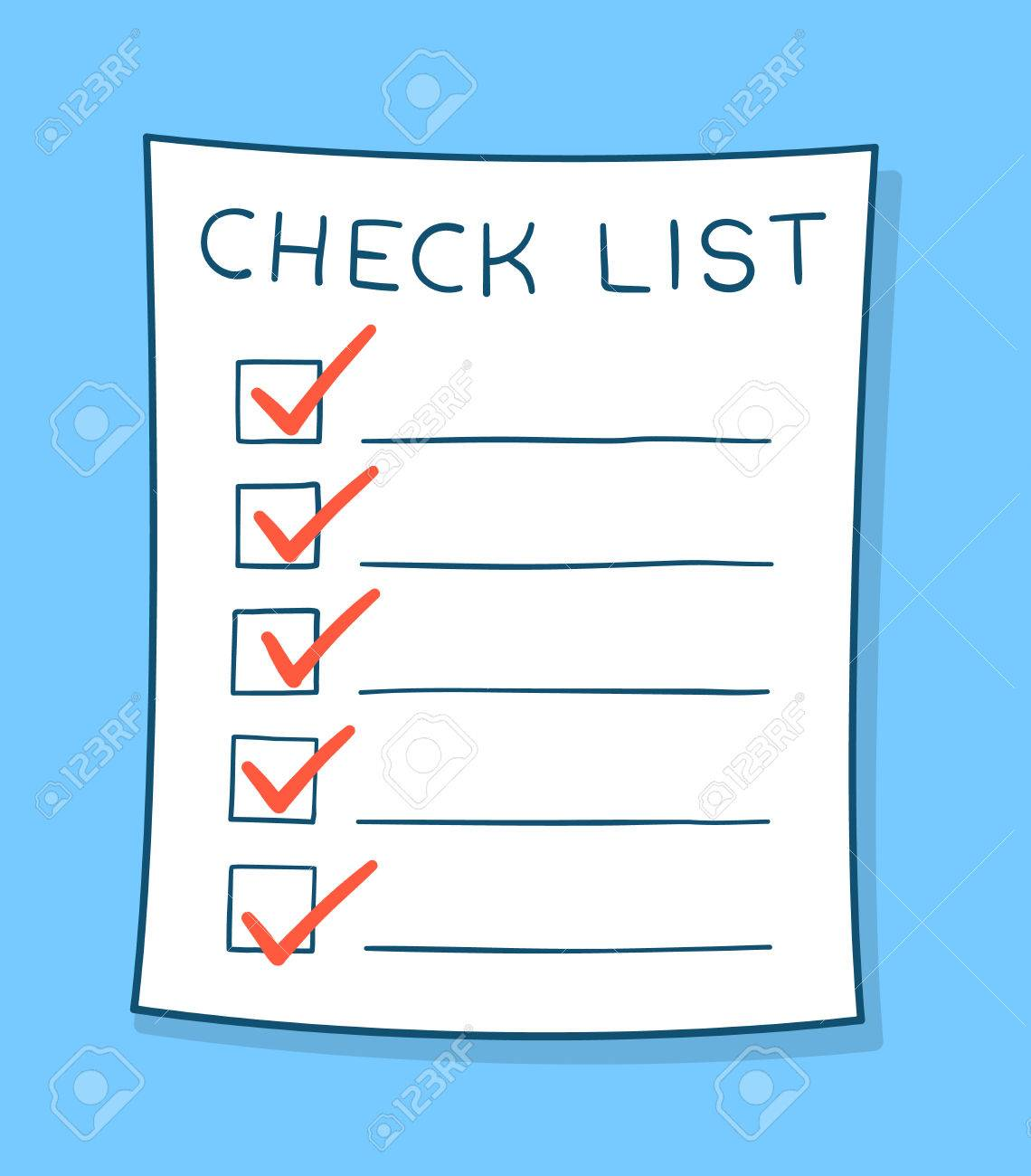 cartoon checklist with red check marks and blank copy space on