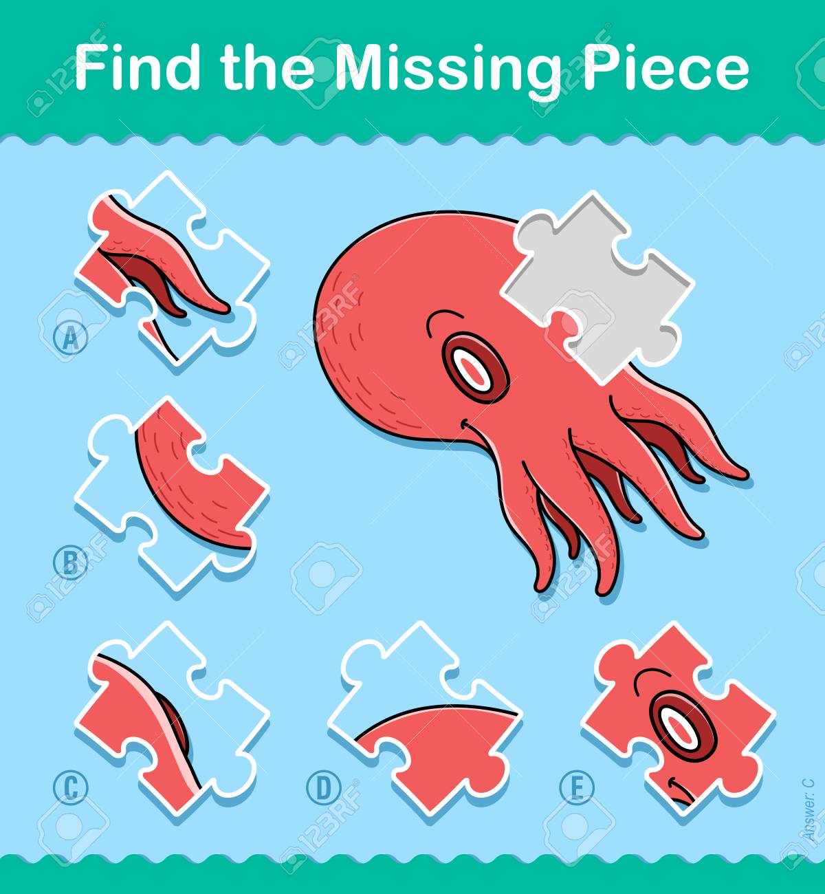 Find The Missing Part Kids Educational Jigsaw Puzzle Game With A Colorful Red Octopus Swimming Underwater