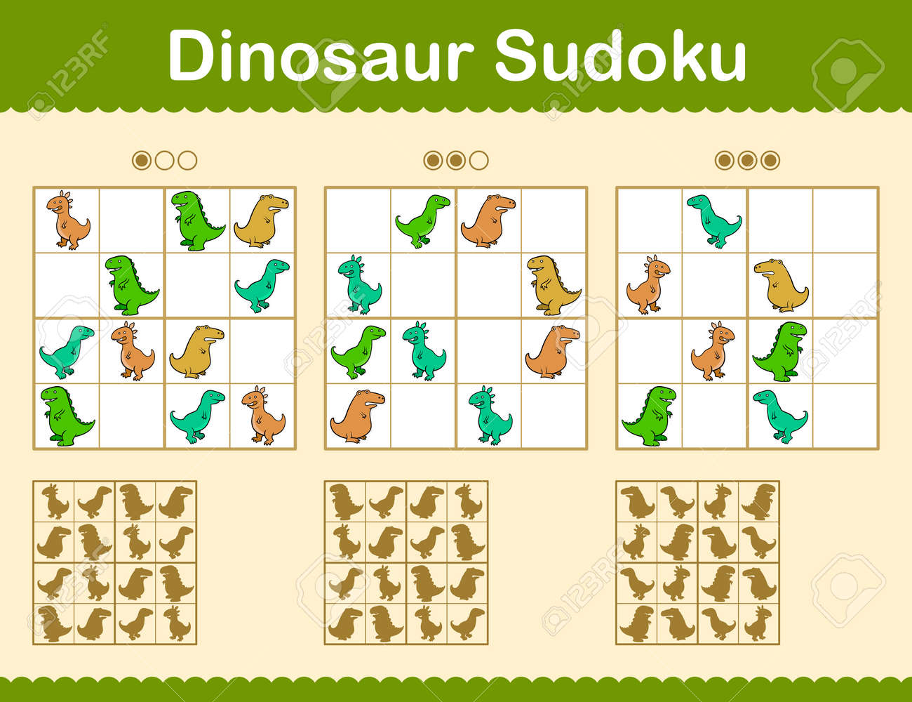 picture about Sudoku Printable Grids called Colourful sudoku puzzles with cartoon dinosaurs within just 3 degrees..