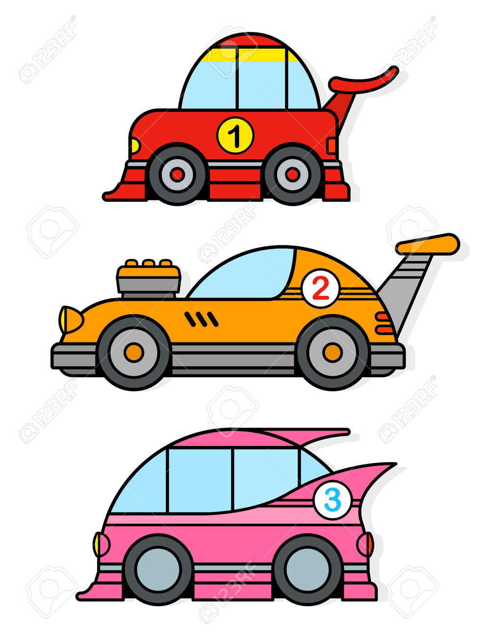 Three Different Colorful Cartoon Racing Toy Cars In Red Yellow