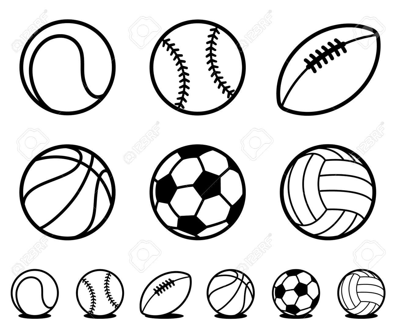 Set of six different black and white cartoon sports ball icons with accompanying line drawing variations