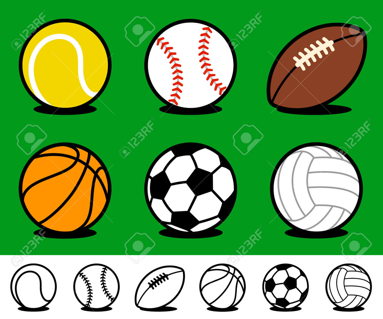 Set Of Six Different Colored Cartoon Sports Ball Icons With Accompanying Royalty Free Cliparts Vectors And Stock Illustration Image 96922792