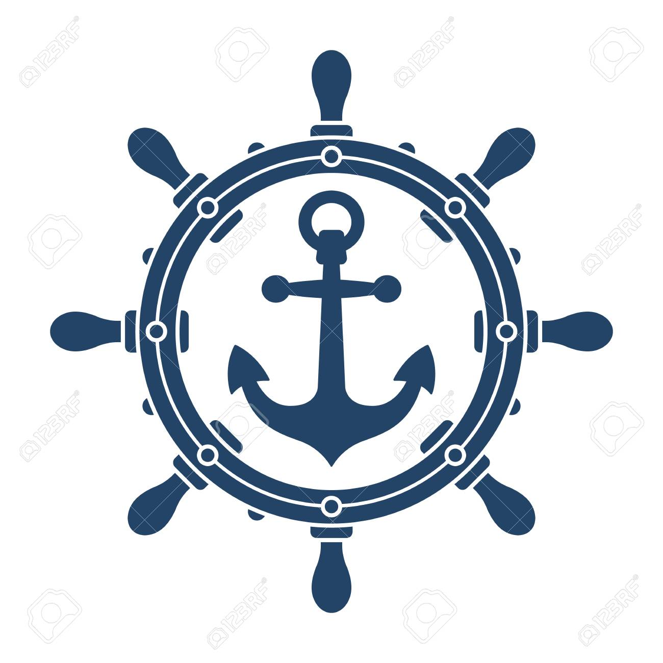 Ship Steering Wheel And Anchor Navigation Emblem Or Logo Isolated Royalty Free Cliparts Vectors And Stock Illustration Image 97494328