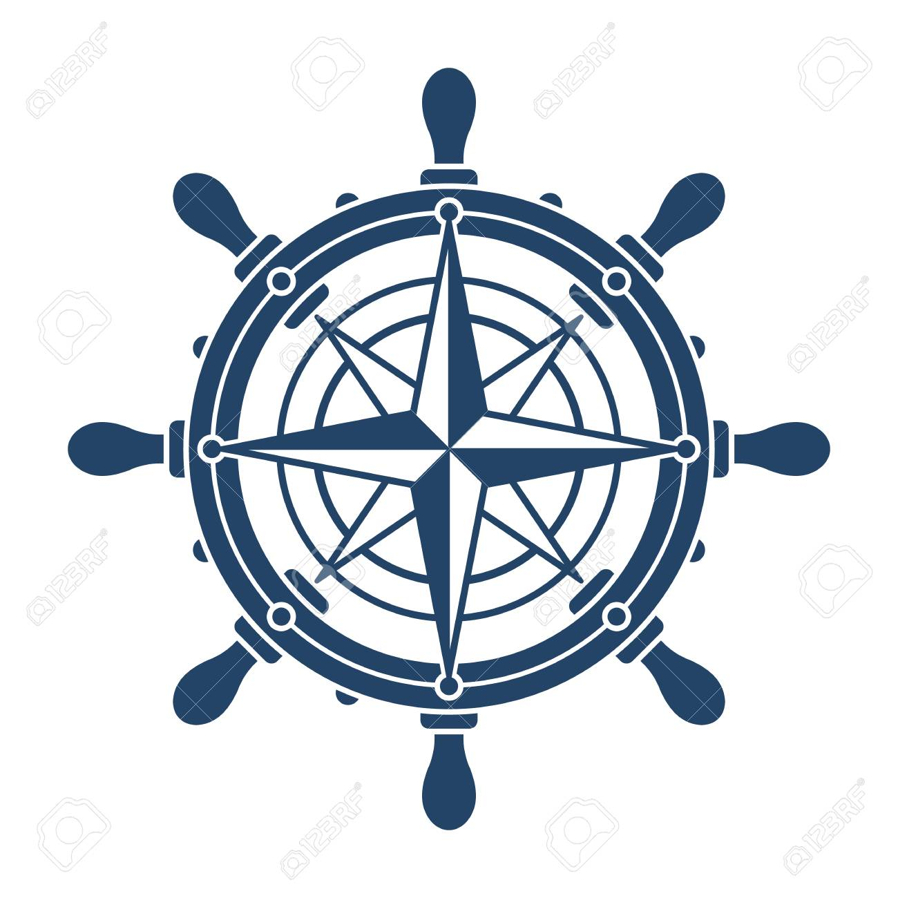 Ship Steering Wheel And Compass Rose Navigation Symbol Or Logo Royalty Free Cliparts Vectors And Stock Illustration Image 97494330