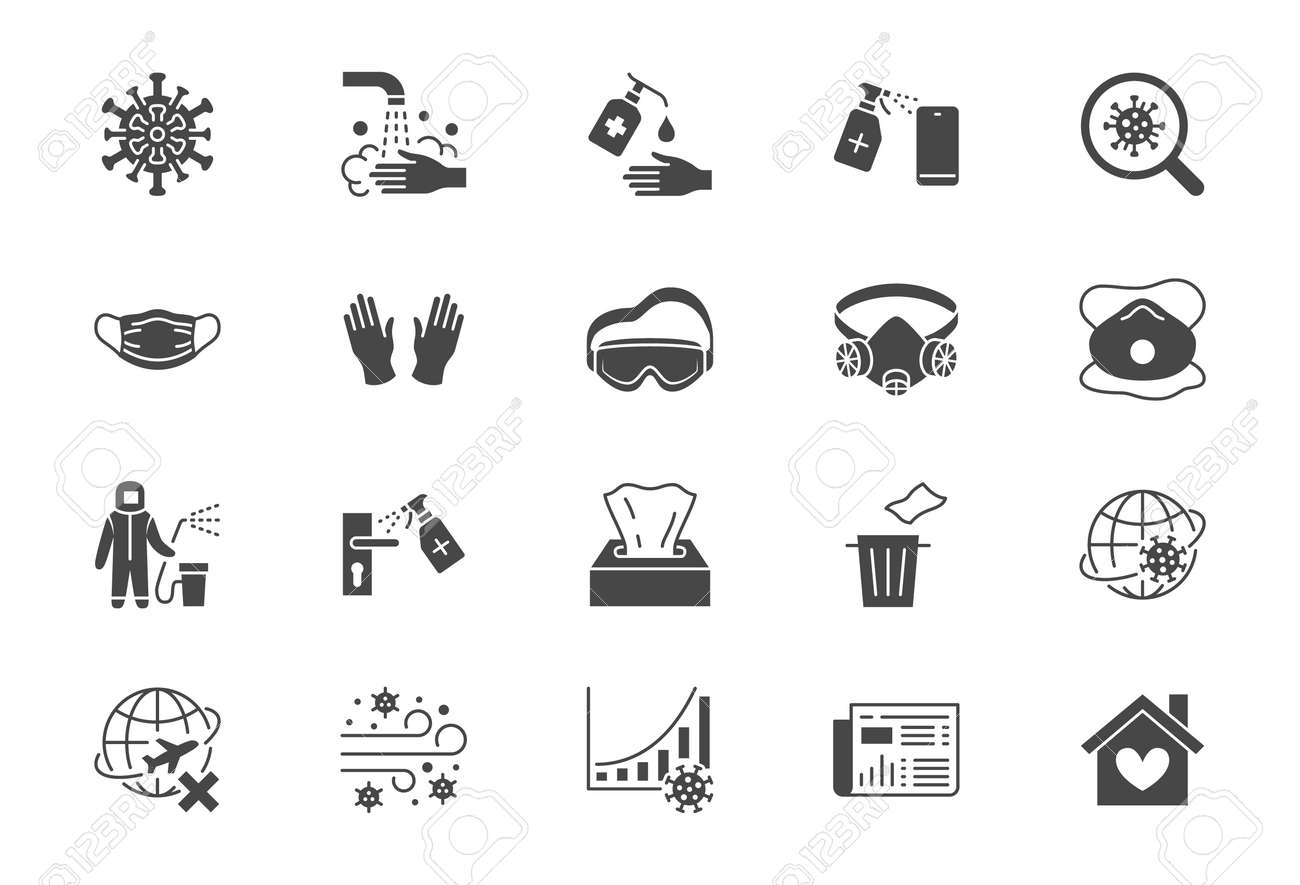 Coronavirus, virus prevention flat icons. Vector illustration include icon - wash hands disinfection, face mask, sanitizer gloves black silhouette pictogram for infographic - 145656406