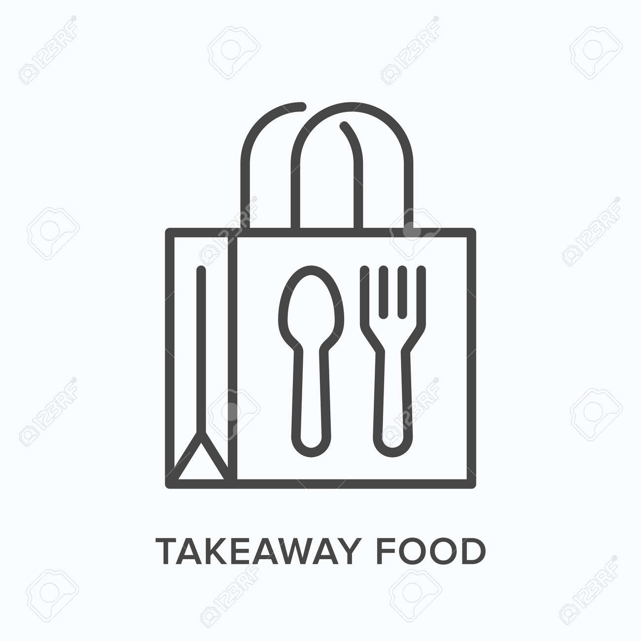 Ready food delivery line icon. Vector outline illustration of takeaway lunch service. Daily meal in papr bag with fork and spoon pictorgam - 149456984