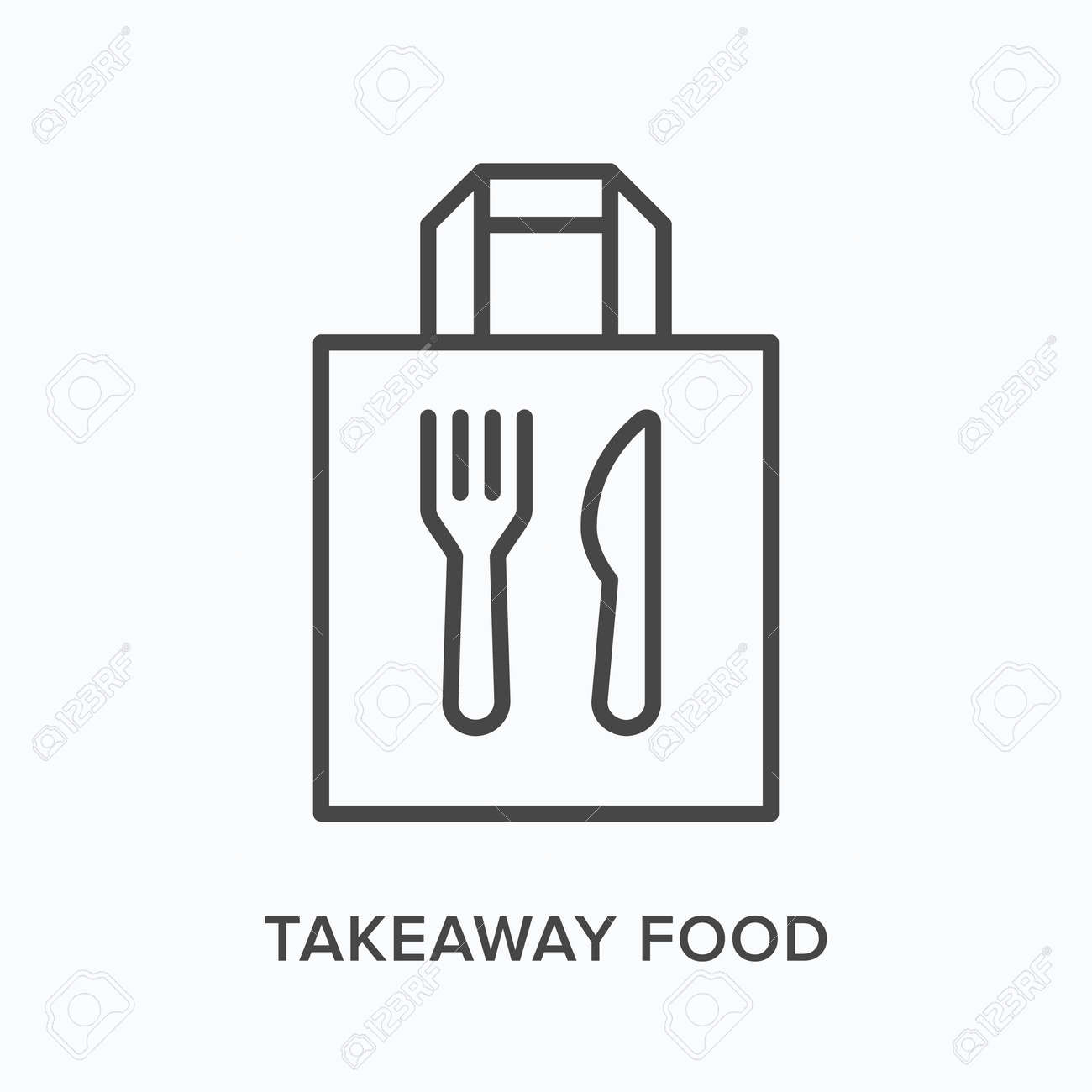 Ready food delivery line icon. Vector outline illustration of takeaway lunch service. Daily meal in papr bag with fork and knife pictorgam - 163657257