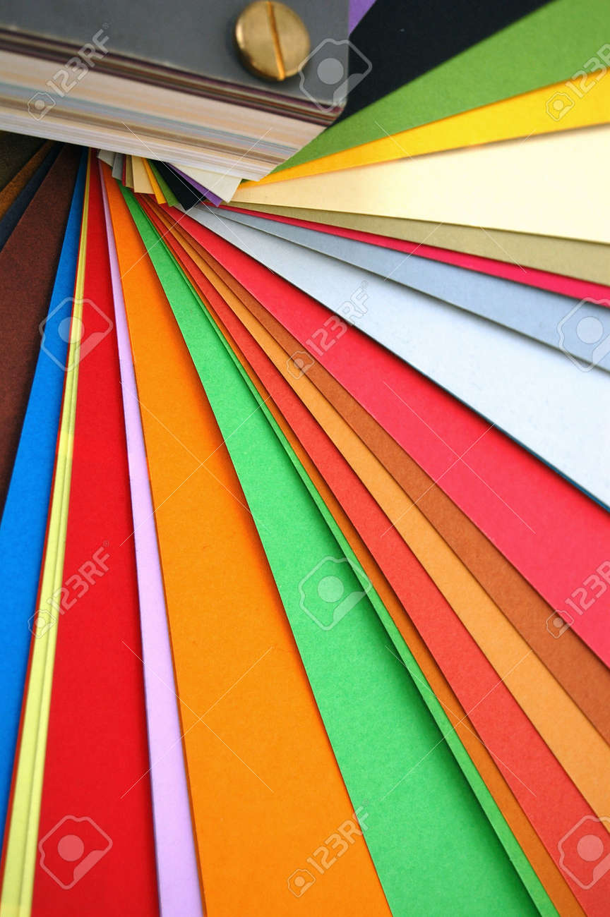 Color printing paper - Paper Color Chart Spectrum Different Weights And Colors Of Printing Paper Stock Photo