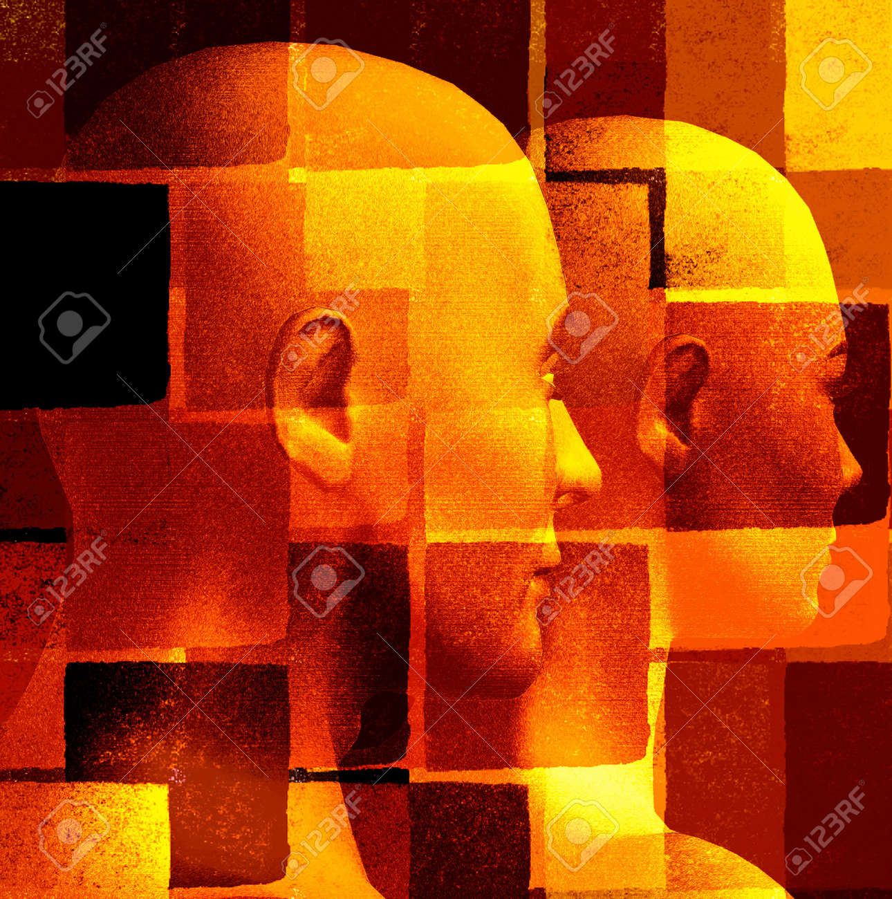 Futuristic couple and geometric pattern. 3d computer generated illustration. Stock Illustration - 3560126