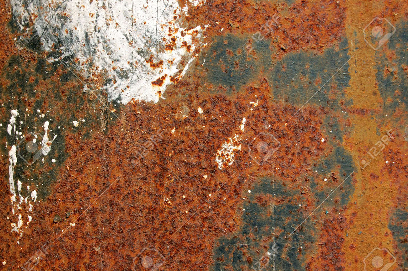 Rusted Iron Surface Texture Background With Rust And Dripping Paint Color Stock Photo