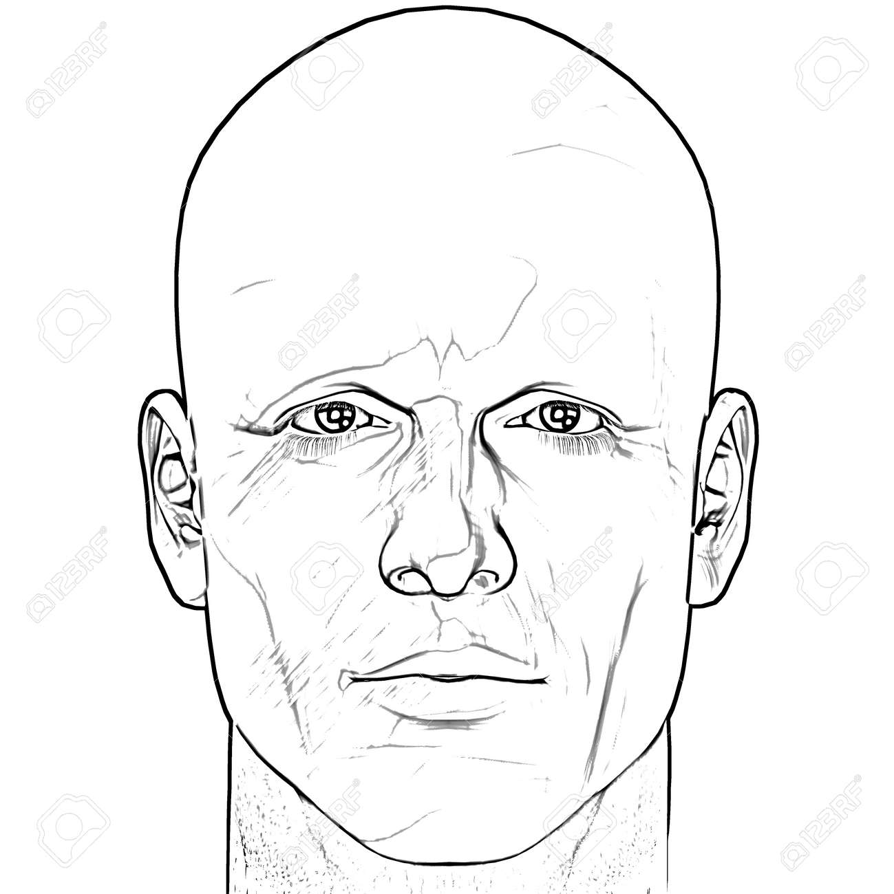 Black and white male figure sketch. Computer rendered illustration. - 3974241