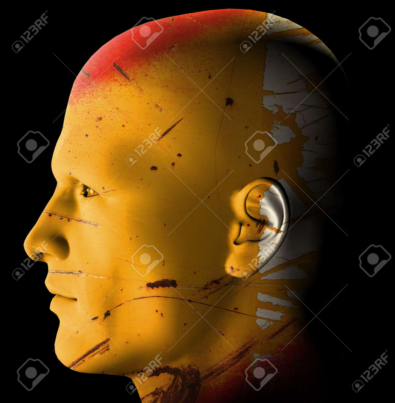 Futuristic rusty android profile. 3d digitally created illustration. Stock Illustration - 5432697