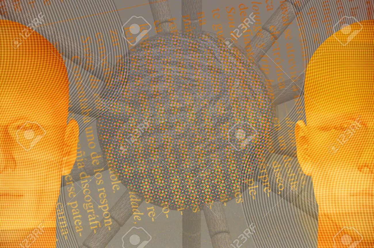 Male figures and abstract geometric shape. 3d digitally created futuristic illustration. Stock Photo - 5768265