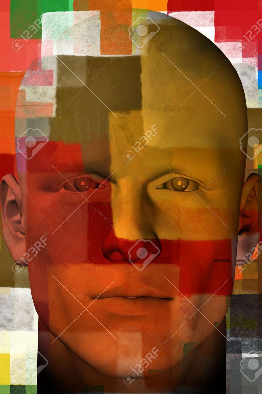 Man portrait with colorful squares abstract modern artistic pattern. 3d illustration. Stock Illustration - 9316240