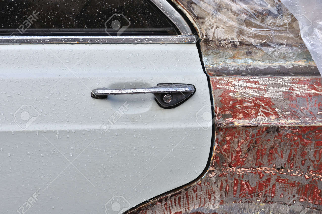 Beautiful Vintage Car Door Handles And Scraped Metal With Raindrops Background Texture Stock Photo Decorating