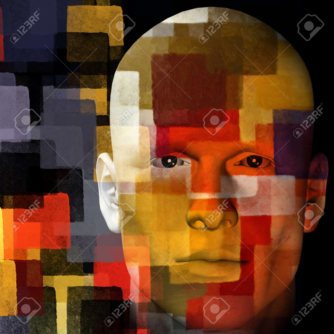 Man with colorful squares pattern. 3d illustration. Stock Illustration - 9420844