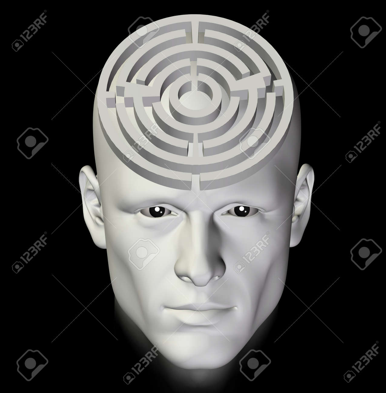 Man in a complex maze of deep thought. 3d conceptual illustration. Stock Photo - 9609443