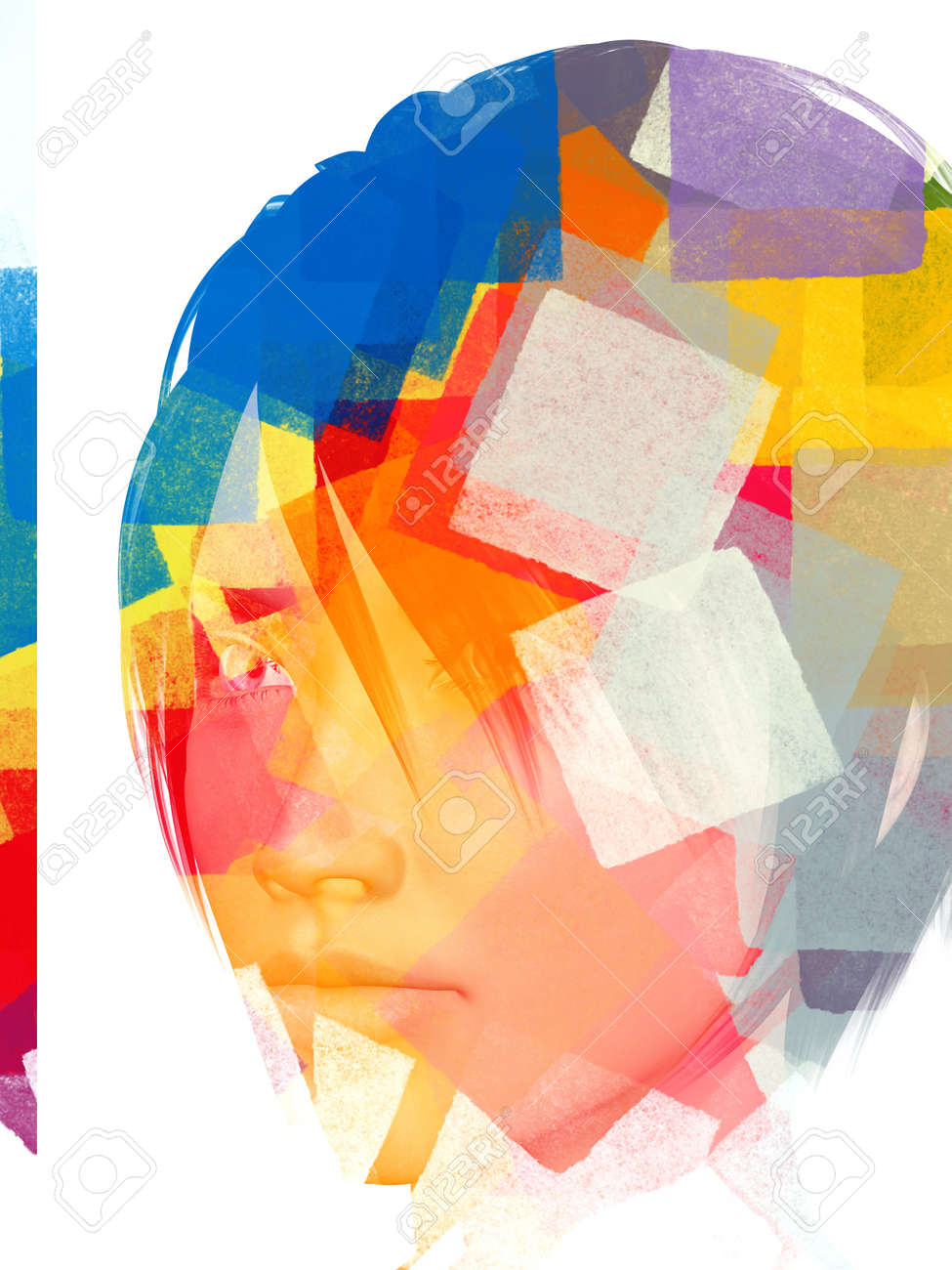 Female portrait and abstract geometric pattern. 3d illustration. Stock Photo - 10486835