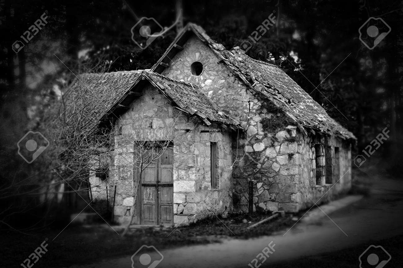 Derelict Haunted Stone House And Dirt Road In The Woods Black White Stock