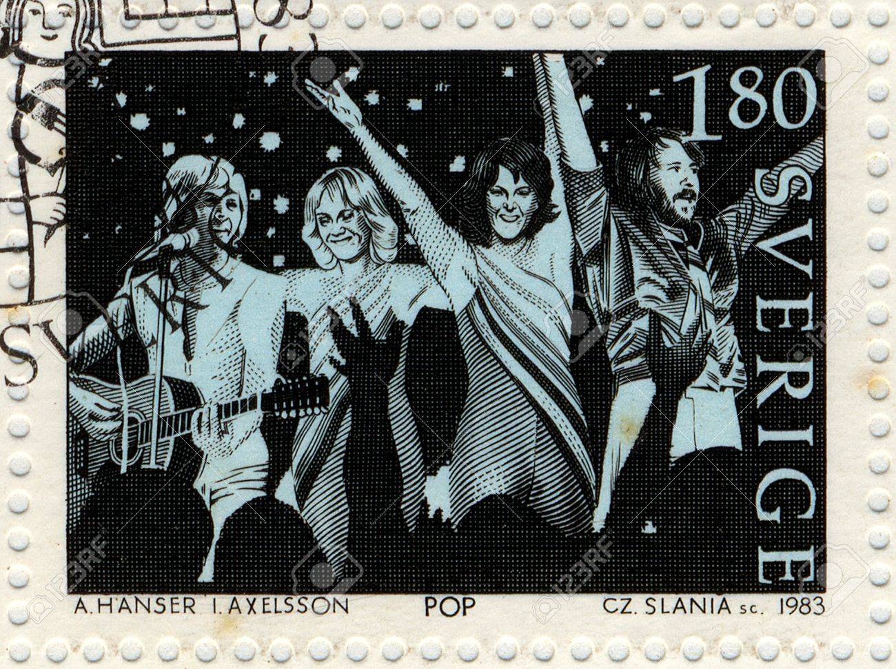 SWEDEN - CIRCA 1983  Vintage postage stamp issued by the Swedish Post to honor the pop music group Abba, circa 1983  Stock Photo - 13072773