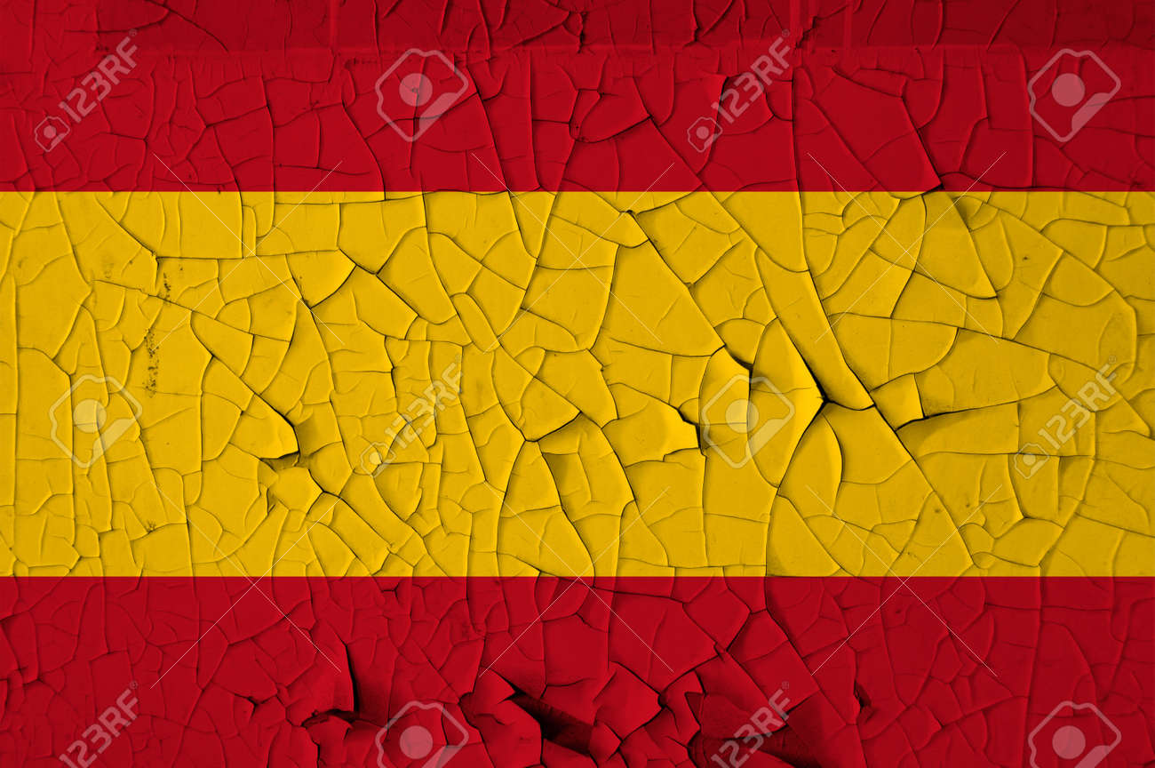Espagnol Drapeau National à éplucher Peinture Murale Weathered Fond Grunge