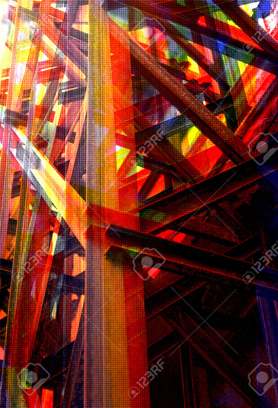 Steel girders industrial structure. Overlapping colors abstract halftone illustration. Stock Illustration - 13897495
