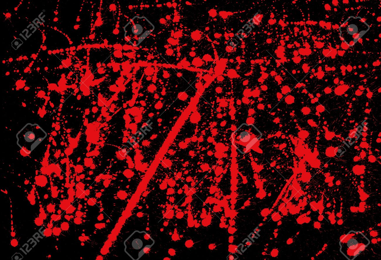 Messy red ink splashed on black background abstract paint splash  illustration. Stock Illustration - 14395805