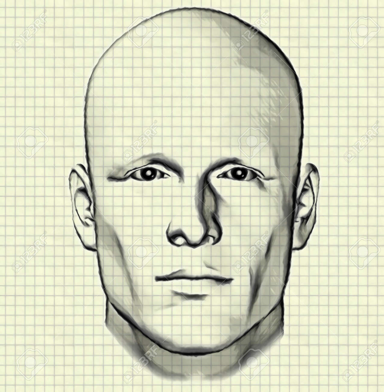 Sketch of male figure portrait drawing of mans head on graph paper background stock photo