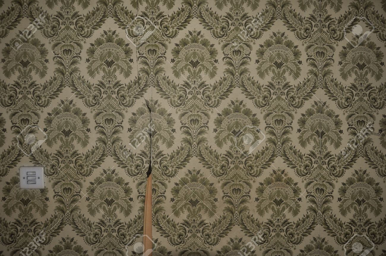 vintage torn wallpaper pattern and light switch on abandoned