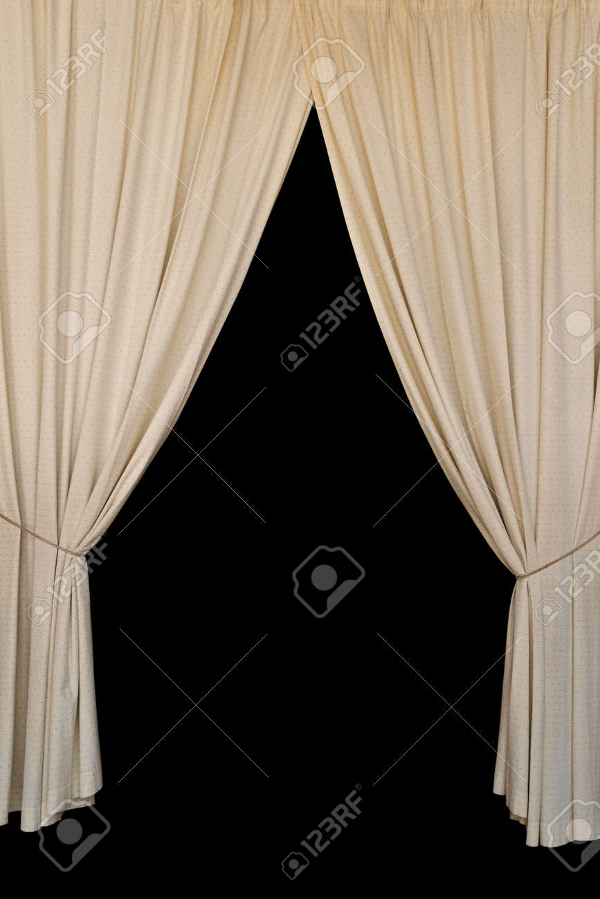 Open black curtain - Opened Curtains Open Curtains Elegant Drapes Tied With Rope On Black Background Stock Photo
