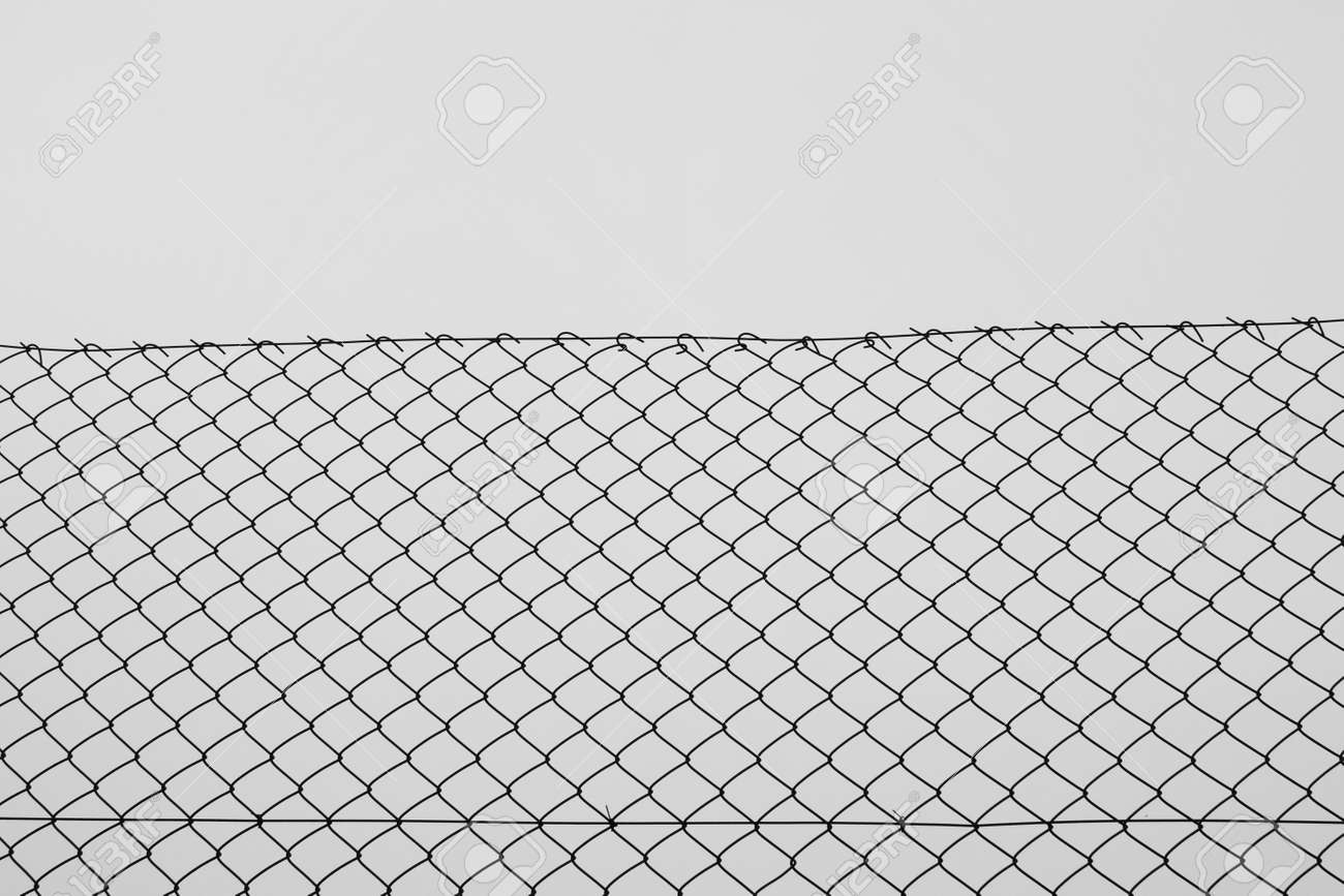 Iron Chain Link Fence Wire Netting With Diamond Mesh Pattern.. Stock ...