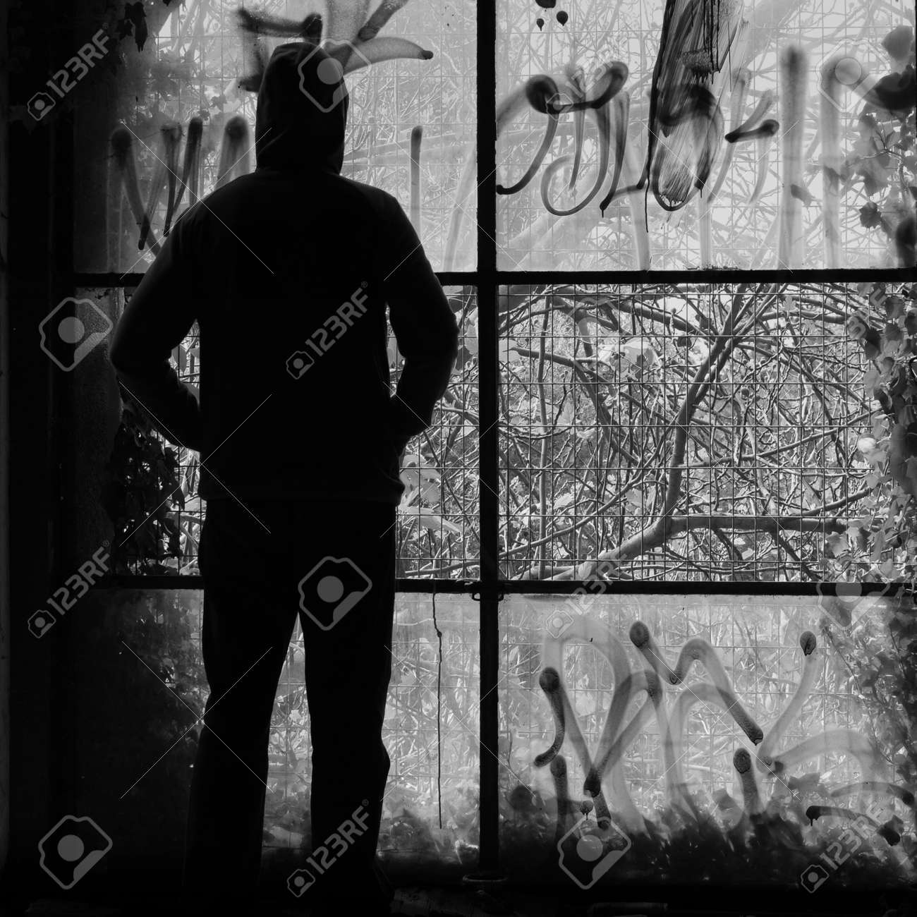 Man Looking Through The Broken Windows Of An Abandoned Building Stock Photo Picture And Royalty Free Image Image 119307784