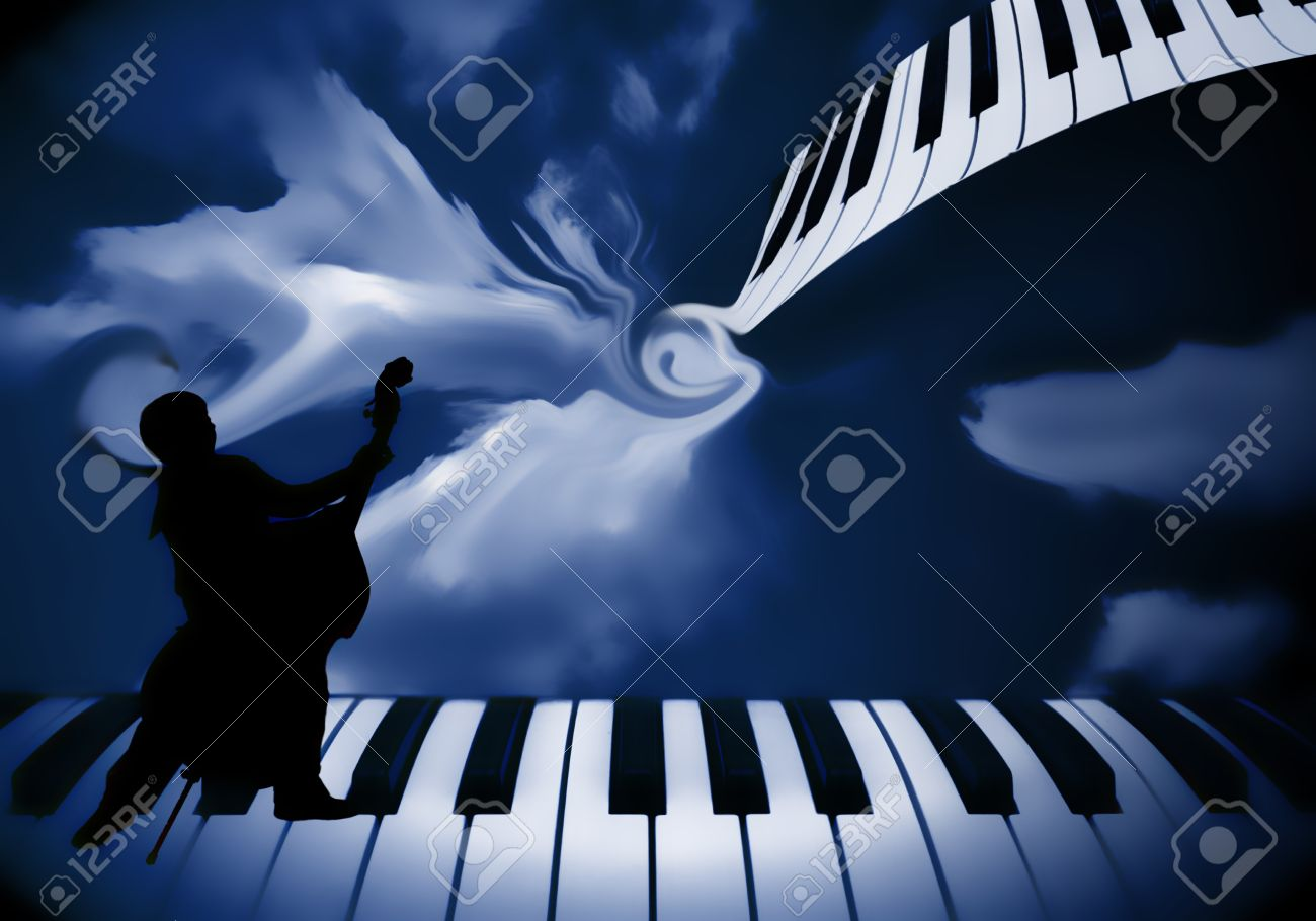 background music piano and double bass Stock Photo - 8772253