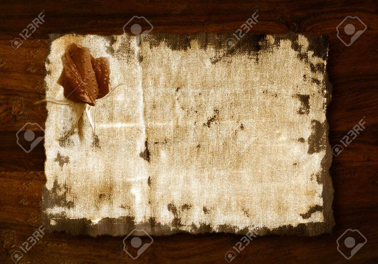 romantic background, rosebud in old fabric on wooden background Stock Photo - 11021549