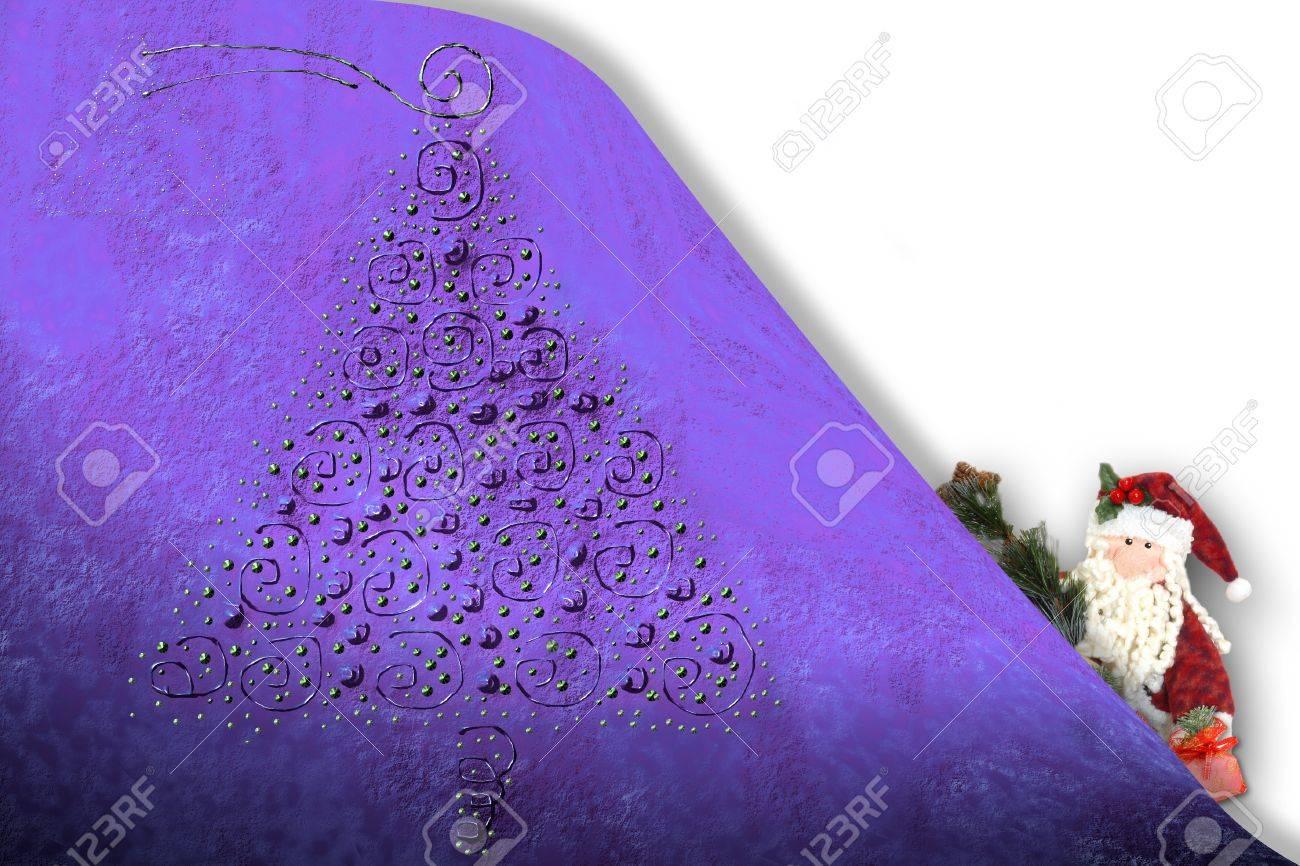 クリスマス イラストの壁紙クリスマス ツリーとサンタ面白い の写真素材