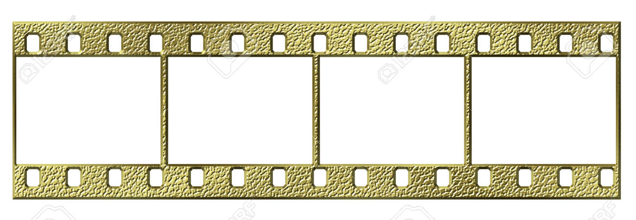 Gold 35mm Film With Four Empty Frames Isolated Stock Photo, Picture ...