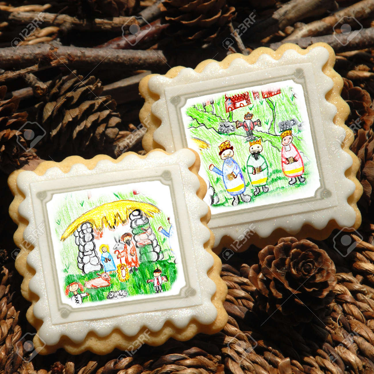 Christmas Cookies Decorated With Children S Drawings Magi And