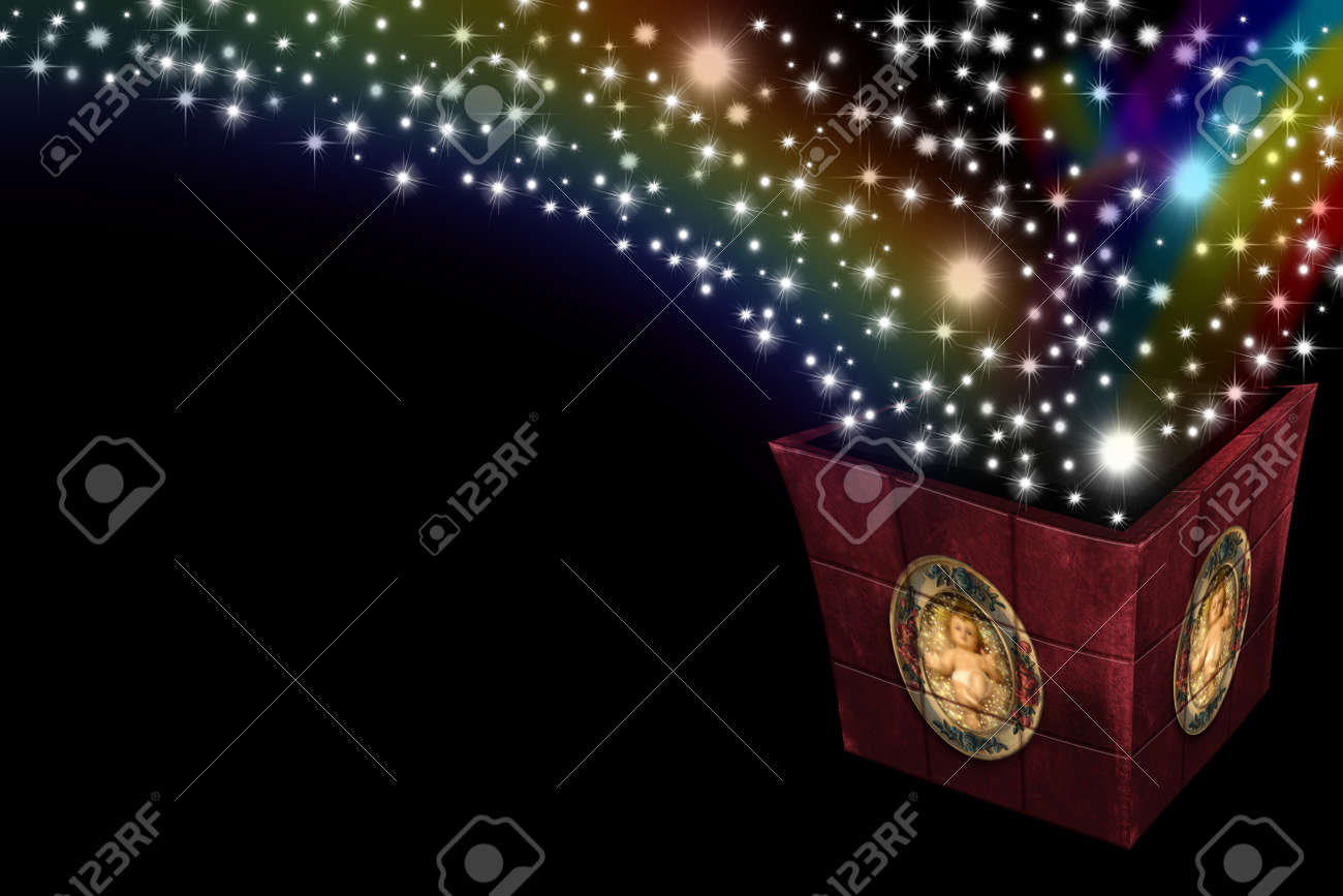 box with photo of the child jesus of light and stars coming out Stock Photo - 10907789