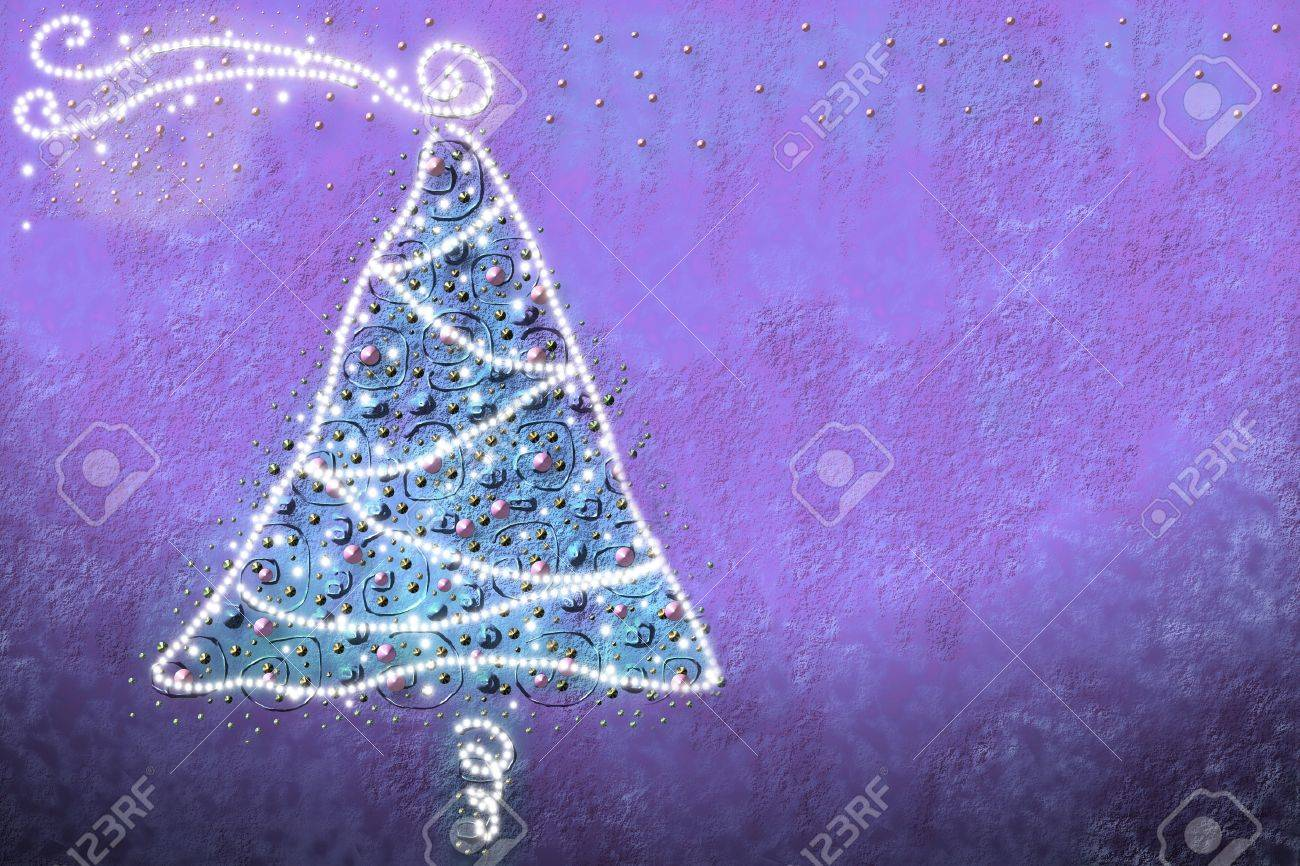 drawing by Christmas tree with baubles and lights Stock Photo - 11021564